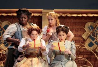 Ronnita Nicole Miller as Mistress Quickly, Erica Brookhyser as Meg Page; Ekaterina Sadovnikova as Nannetta; Carmen Giannattasio as Alice Ford.