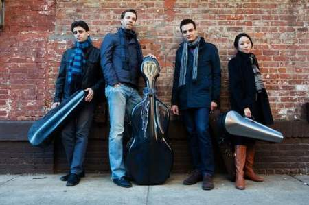 The Tesla Quartet (l to r) Edwin Kaplan, Serafim Smigelskiy, Ross Snyder Michelle Lie