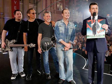Van Halen with Jimmy Kimmel: Wolfgang Van Halen, Alex Van Halen, Edward Van Halen, David Lee Roth