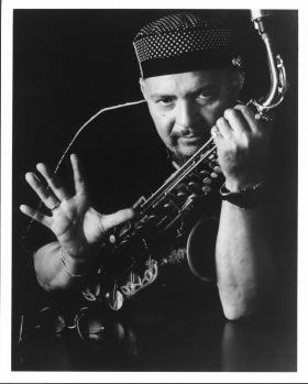 Jackie McLean gestures with horn